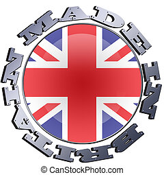 Made In Britain - Illustration of a circular Union flag with...