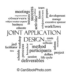 Joint Application Word Cloud Concept in black and white with...