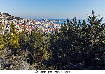 Panoramic view to city of Kavala, East Macedonia and Thrace,...