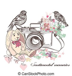 Beautiful romantic card with old camera birds flowers and toy rabbit in vintage rustic style.eps