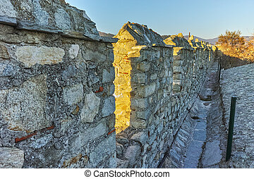 Wall of fortress of Kavala, East Macedonia and Thrace,...