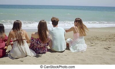 Group of young friends relaxing on a beach sitting in a line...