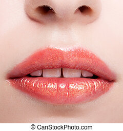 Closeup shot of female lips - Close up shot of female red...