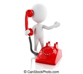 3d White people with red old phone - 3d renderer image White...