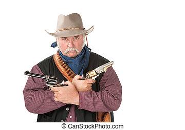 Tough cowboy with pistols
