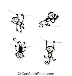 Funny monkey collection for your design