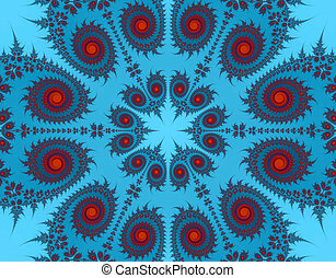 Blue and red Paisley