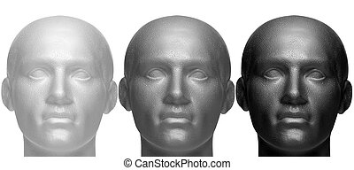 Shades of grey - Three mannequin heads in white black and...