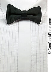 Bow tie and dress shirt - Black silk bow tie and white...