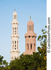 Sultan Qaboos Grand Mosque - Two minarets at Sultan Qaboos...