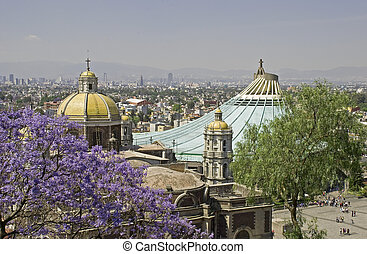 Old and new Basilica of Guadalupe in Mexico D.F., rooftop...