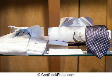 White male shirts with necktie - Close uo of white male...