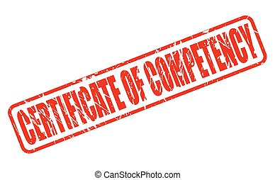 CERTIFICATE OF COMPETENCY red stamp text on white