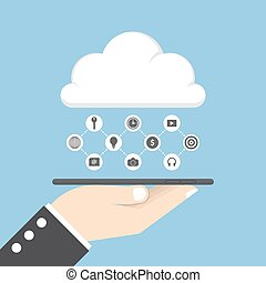 Businessman hand holding tablet and share data on cloud