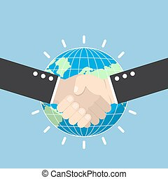 Business handshake with earth globe on background