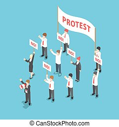 Isometric business people demonstration or Protest with...