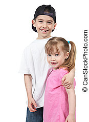 brother and sister on a white