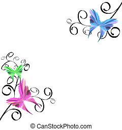 Butterflies and Swirls - Delicate butterflies with black...