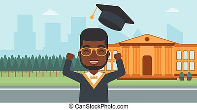 Graduate throwing up his hat - An african-american man...
