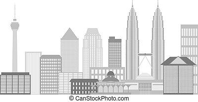Kuala Lumpur City Skyline Illustration