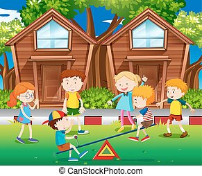 Children playing seesaw in the park illustration