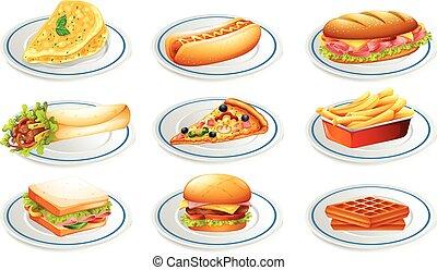 Set of fastfood on plates illustration