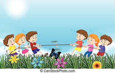 Children playing tug o war in the field illustration