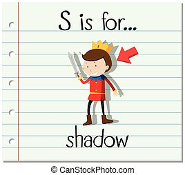 Flashcard letter S is for shadow illustration