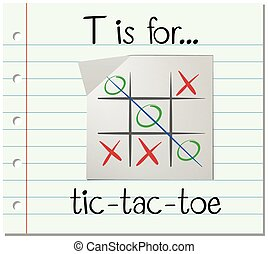 Flashcard letter T is for tic tac toe illustration