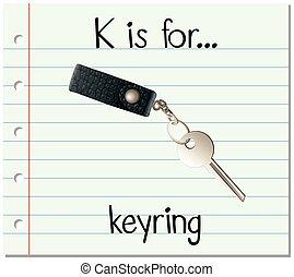 Flashcard letter K is for keyring illustration