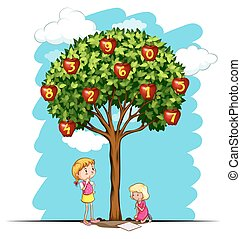 Apple tree with numbers illustration