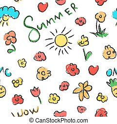 Summer seamless pattern.  Flowers background.