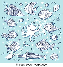 Set cute fish and octopus for the design of child coloring