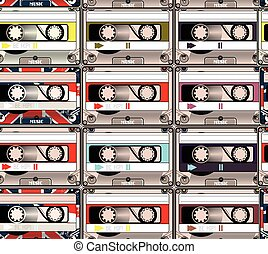 Hipster seamless pattern with colorful retro cassettes music theme.eps