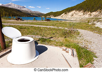 Open-air toilet with beautiful landscape view - Toilet seat...