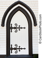 Black white wooden door portal entry architecture - Black...