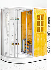 Sauna with shower - Small wooden home sauna with shower...