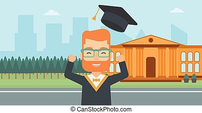 Graduate throwing up his hat - A hipster man with the beard...
