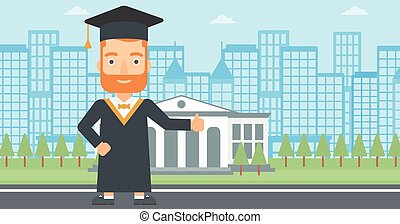 Graduate showing thumb up sign - A hipster man in cloak and...