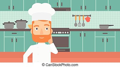 Chef pointing forefinger up - A cheerful chief-cooker in...