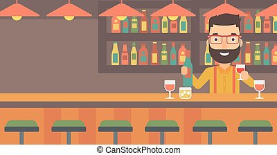 Bartender standing at the bar counter - Bartender standing...