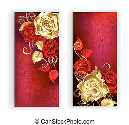 Two red banner with gold roses - two banners with gold and...
