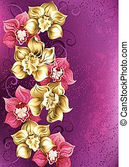golden orchid on a pink background - artistically painted...