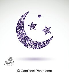 New Moon placed on a starry sky beautiful art illustration,...