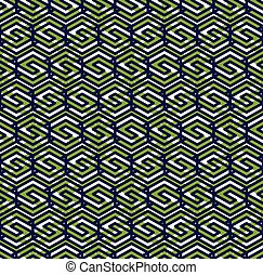 Green abstract seamless pattern with interweave lines Vector...
