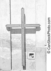 wall abstract sacred cross in italy europe and the sky...
