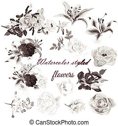 Big set or collection of watercolor styled flowers for design in monochromic sepia color
