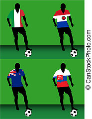 Soccer players - Group F - Silhouettes of soccer players...