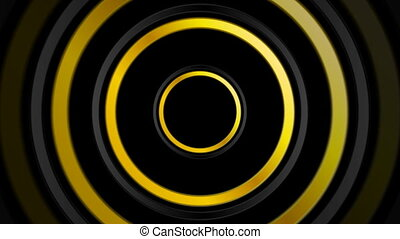 Golden and black abstract circles video animation