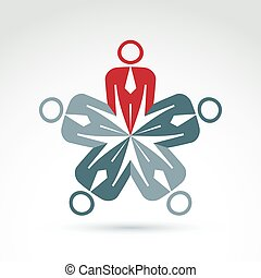 Abstract corporate branding sign. Business team and social community concept. Vector colorful illustration of teamwork, brainstorming concept.